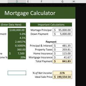 the main page of the Mortgage Calculator